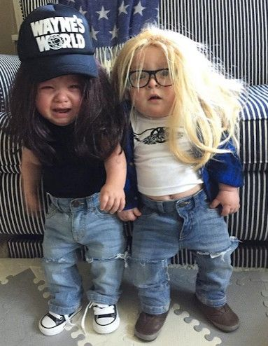 two babies dressed as wayne and garth for halloween