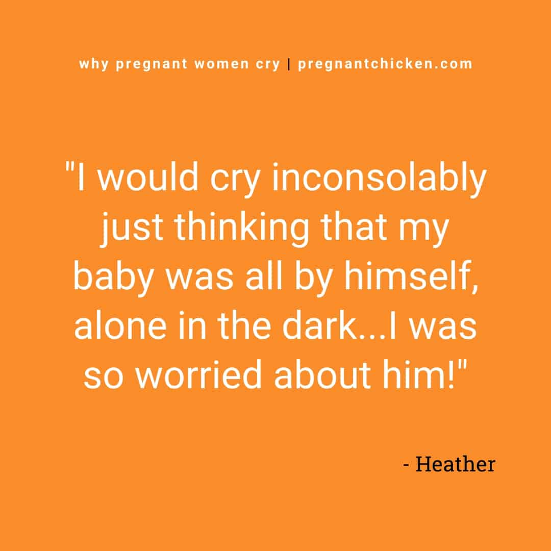 """Text reads """"I would cry inconsolably just thinking my baby was all by himself, alone in the dark... I was so worried about him!"""""""