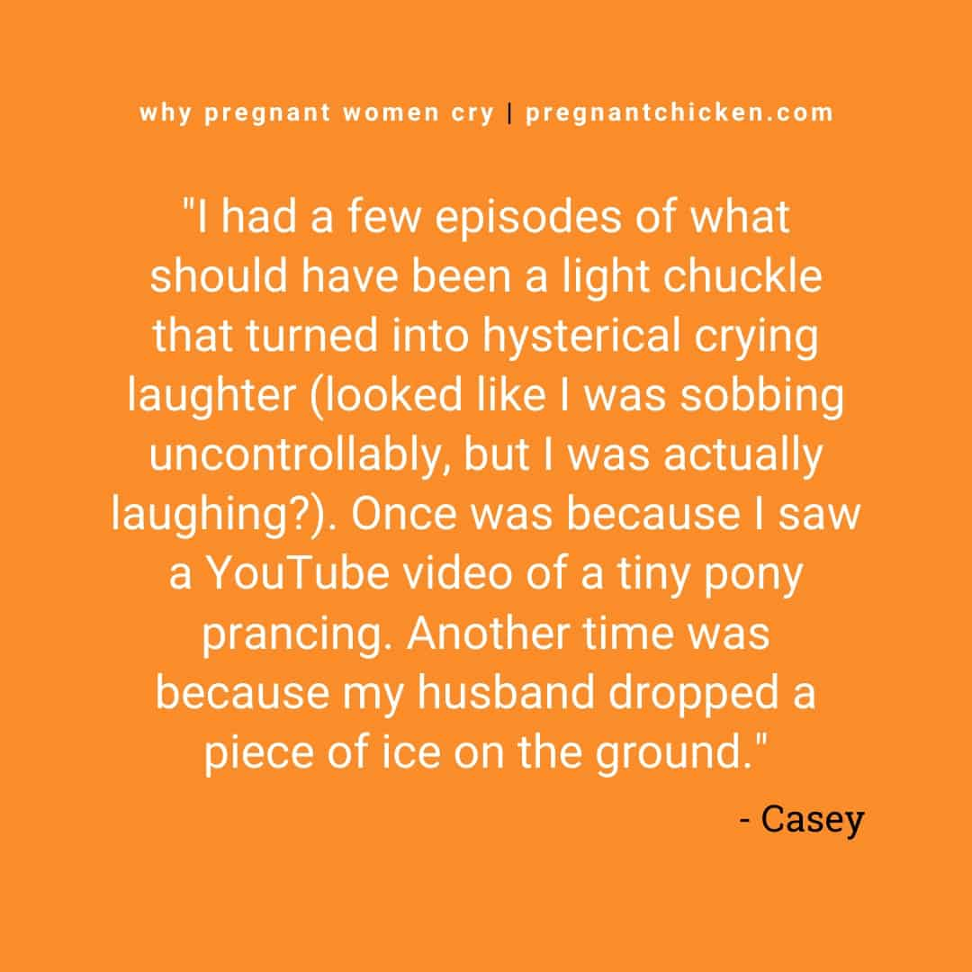 """Reasons pregnant women cry series, text reads """"I had a few episodes of what should have been a light chuckle that turned into hysterical crying laughter (looked like I was sobbing uncontrollably, but I was actually laughing?). Once was because I saw a YouTube video of a tiny pony prancing. Another time was because my husband dropped a piece of ice on the ground."""""""