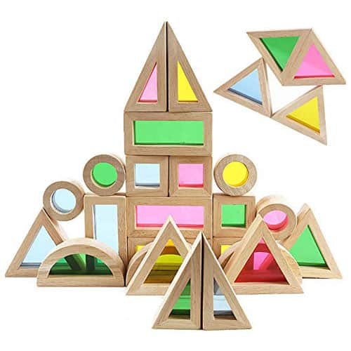 wood building blocks with rainbow peek a boo window - Technology and Engineering Baby Toys