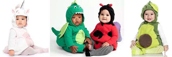 Unicorn, dragon, ladybug and avocado baby halloween costumes