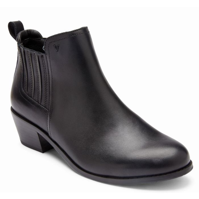 leather black ankle boots